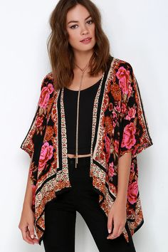 Russian Rose Red Floral Print Kimono Top. Cute and I don't have to keep pulling it on to my shoulders...even though I don't mind doing that because I love kimonos.