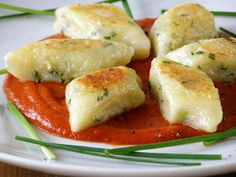 Pan Fried Chive Gnocchi with Sun-Dried Tomato Coulis