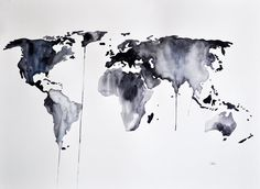 ORIGINAL Abstract world map watercolor painting, Large Painting in Black and White, Art for Men 22x30 Inch