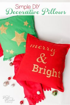 Simple DIY Christmas and Holiday Pillows. Use Painters paint markers to easily decorate pillows and other home decor items for the holidays.