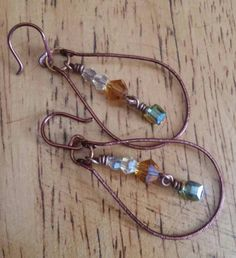 "1 1/2""-1 3/4"" Rustic Beauty Dangle. Shown In Hammered Brown & Natural Brass. Swarovski's: Sm.Honey, Med.Diamond, Lg.Topaz, Lg.Topaz Cube. by TheForestBlackRoom on Etsy"