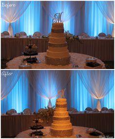 #pinspot #cake #wedding #drape #uplighting #beautiful #spotlight Wedding Events, Weddings, Cake Wedding, Spotlight, Monogram, Lighting, Desserts, Beautiful, Food