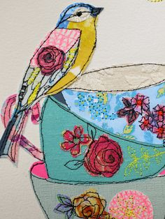 Tea cup Stack & Bird stitched mixed media original art