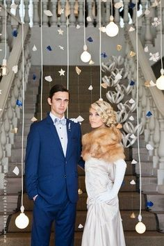 Paper mobiles as wedding decorations, so cute!