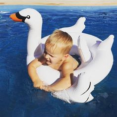 NIGHT GRING White Swan Baby Kids Float Swimming Ring Inflatable Seat Boat Pool Toys