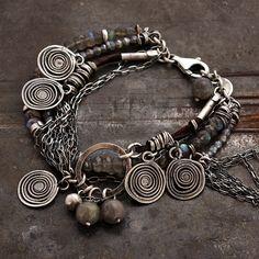 labradorite chain bracelet  925 sterling silver  charm by ewalompe