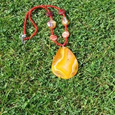 Agate necklace, fire agate pendant, boho necklace, gifts for her, orange necklace, gemstone pendant, fire agate jewellery, agate jewelry by Warrendertreasures on Etsy