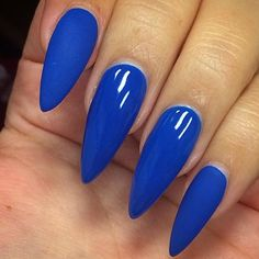 Sea blue gloss and matte stiletto nails.  by thenailbarsydney http://ift.tt/1NRMbNv