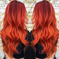 43 Most Gorgeous and Eye-Catching 🌅 Sunset Hair Colour Long Hair and Short Hair for Prom and Wedding Red Hair red orange hair Red Orange Hair, Red Hair Color, Teal Orange, Pink Yellow, Blue Green, Color Red, Orange Color, Sunset Hair, Bright Hair Colors