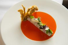 At L'Espalier, crab salad comes rolled in a tight cigar