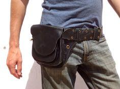 Utility Belt Leather Belt Bag Hip Hunter Belt with by leilamos, $110.00