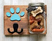 Dog treat jar with leash holder.  Dog treat jar/Leash holder combination. Handmade Treat Holder