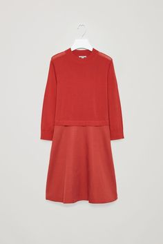 COS image 2 of Knitted dress with woven skirt  in Red