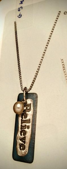 Sea to believe with white Pearl Party, Dog Tags, Dog Tag Necklace, Sea, Pearls, Jewelry, Jewlery, Jewerly, Beads