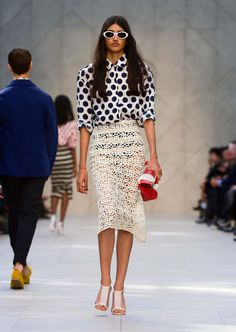 White embroidered pencil skirt and large dot print oversize shirt - The Burberry Prorsum S/S14 Collection