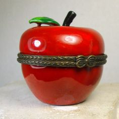Red Apple Porcelain Box,  Limoges Copy Treasure Box, Hinged Trinket Box, Fall Harvest Time,  Apple A Day,  1990s