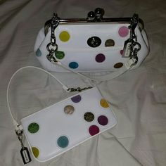 Authentic Coach gallery polka dot frame purse Rare. Gently used. Comes with wristlet. #3679. Comes with dust bag. Coach Bags Shoulder Bags