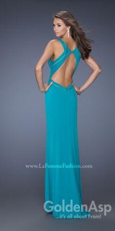 La Femme 19851 Dress, from Golden Asp's selection of open back #prom dresses. Visit our #dress shop in Bensalem, Pennsylvania, or shop for open back dresses online at http://www.goldenaspprom.com/shop/dresses/style/open-back-prom-dresses #prom2015 #prom2k15