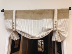 Burlap London shade stripe straps / Home and Living/valance/Home and living/women/more by pillowpuff on Etsy