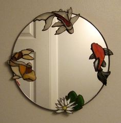 My favorite fish made into a small mirror for a small powder room. Stained Glass Mirror, Stained Glass Designs, Glass Wall Art, Stained Glass Projects, Stained Glass Patterns, Stained Glass Windows, Mosaic Glass, Fused Glass, Glass Mirrors