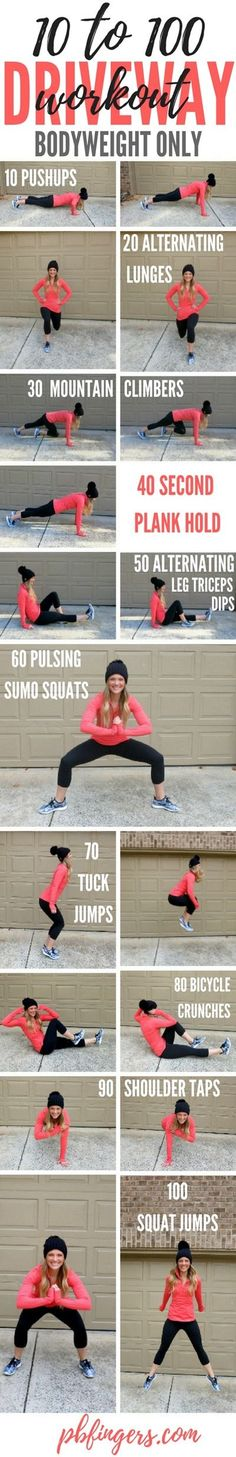 10 to 100 Driveway Workout. http://www.pbfingers.com/10-to-100-driveway-workout/