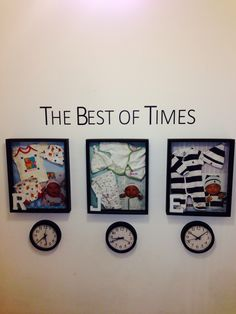 Clocks are stopped at time of birth! #Baby shadow boxes. I am definitely gonna do this!