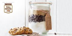Chocolate Chip Cookie Mix in a Jar Recipe from Peapod - Chocolate Chip Cookie Mix in a Jar Recipe from Peapod - Mason Jar Meals, Meals In A Jar, Cookie Mix In A Jar Recipe, Skyrim Food, Mousaka Recipe, Chocolate Chip Cookie Mix, Passionfruit Recipes