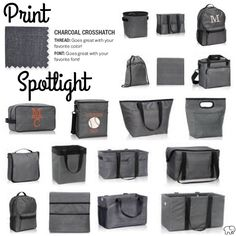Print Spotlight for Spring/Summer 2017 Thirty-One - Charcoal Crosshatch #newcatalog #Carrie31Bags