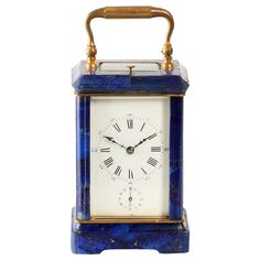 Rare French Lapis Lazuli Corniche Carriage Clock, circa 1880 | From a unique collection of antique and modern clocks at http://www.1stdibs.com/furniture/more-furniture-collectibles/clocks/