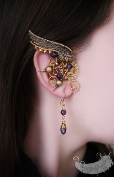 Angel of the Past steampunk jewelry gold by EvgeniaEJewellery