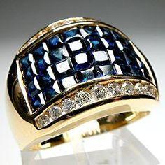 Fine Estate Invisible Set Blue Sapphire & Diamond Cocktail Ring Solid 14K Gold   eBay