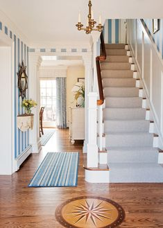 I love the nautically inspired stripe wallpaper & the compass rose inlay in the floor. Via the House of Turquoise  Elizabeth B. Gillin + Falcon Industries