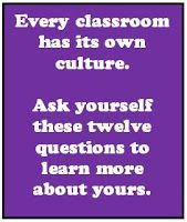 This post  will give you some questions to ask yourself about the classroom culture you have created.