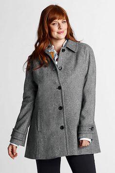 Women's Plus Size Pattern Wool Swing Coat from Lands' End