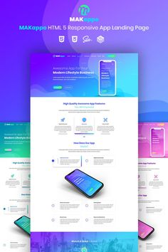 MAKappo App Landing Page Template - Landing Pages - Create a landing pages with drag and drop. Easily make your landing page in 3 minutes. - MAKappo App Landing Page Template Design Sites, Web Design Tips, App Design, Flat Design, Mobile Design, Website Layout, Web Layout, Layout Design, App Landing Page
