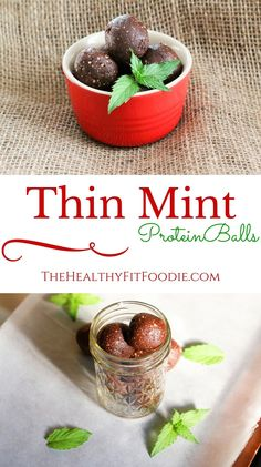 Can't wait for the holiday's to get here? Try these Thin Mint Protein Balls to get you in the holiday spirit. They are high in protein, gluten free, and can be made vegan by substituting with a vegan protein powder. These Thin Mint Protein balls are made Protein Muffins, Protein Bites, High Protein Snacks, High Protein Recipes, Healthy Protein, Protein Foods, Energy Bites, Healthy Snacks, Protein Cake