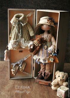 Купить Текстильная кукла Селена. Бохо стиль. По мотивам. - коричневый, коричневр-сиреневый