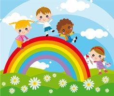 Let's play together! Illustration of children and rainbow , School Murals, Blog Layout, Card Sentiments, Cute Cartoon Wallpapers, Happy Kids, Cute Illustration, Classroom Decor, Kids Playing, Art For Kids