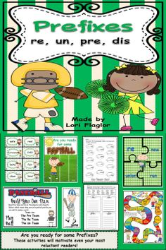 Even your most reluctant readers will be motivated to read these prefixes with sports themed activities. Teaching Reading, Fun Learning, Reluctant Readers, Struggling Readers, Sports Theme Classroom, Prefixes And Suffixes, Word Work Activities, Common Core Reading, 3rd Grade Reading