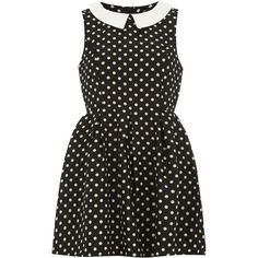 Mela Black Spot Round Collar Dress (£13) ❤ liked on Polyvore featuring dresses, black, skater dress and mela loves london