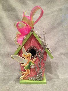 Disney TINKERBELL FAIRY PRiNCESS - Personalized Handmade Wood Birdhouse Ornament Decoration - Glitter n Pixie Dust - Sweet Girl Gift (BH298)