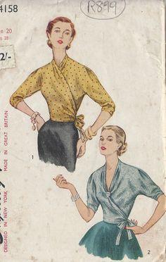 Nähen Schnittmuster 1952 Vintage Bluse B38 (R899)