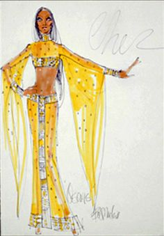 Bob Mackie costume sketch for Cher from igavelauctions.com Worn to the 1973 Academy Awards and on the Sonny & Cher show