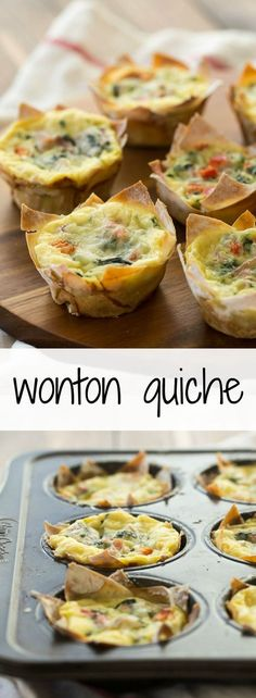 Mini Wonton Quiche: an easy breakfast or lunch recipe that's good for you! Less than 100 calories per quiche. Quiche Recipes, Brunch Recipes, Breakfast Recipes, Diet Breakfast, Brunch Appetizers, Breakfast Quiche, Meat Appetizers, Bariatric Eating, Bariatric Recipes
