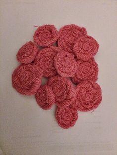 One Dozen Pink Burlap Flowers, Six small and Six medium on Etsy, $15.00