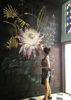 Make your Home Bloom With These Floral Wallpaper Ideas flora. Make your Home Bloom With These Floral Wallpaper Ideas floral mural design idea 4 Mural Floral, Art Floral, Design Floral, Chalkboard Art, Mural Art, Artist At Work, Artist Wall, Painting Inspiration, Bedroom Inspiration