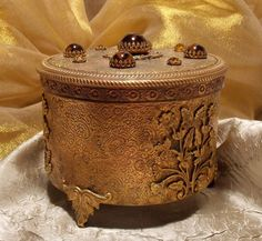 Vintage Gold Ormolu Music Powder Jewelry Box by TheEclecticDiva, $95.00