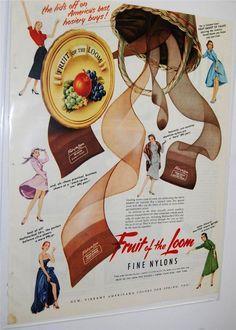 Fruit of The Loom Fine Nylons Hosiery Vibrant Americana Vintage Mag Ad 1950s