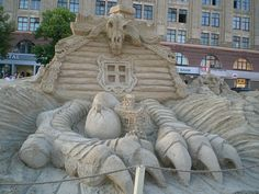 Little Hut on Chicken Legs (Baba Yaga myth) made out of sand