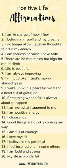 Positive life affirmations - Lemonade Brain. Affirmations. Self love.